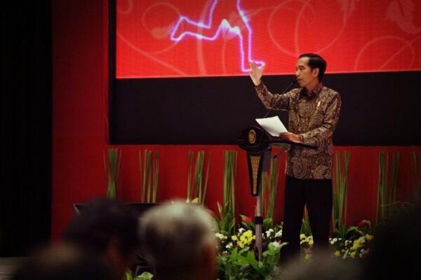 Presiden Joko Widodo membuka Pidato pada acara Musrenbangnas 2017 di hotel Bidakara, Jakarta, Rabu (26/4/17).